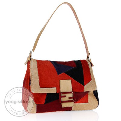 Fendi Multi-Color Art Deco Pony Hair Medium Shoulder Bag