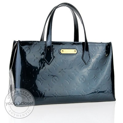 Louis Vuitton Blue Nuit Monogram Vernis Wilshire PM Bag