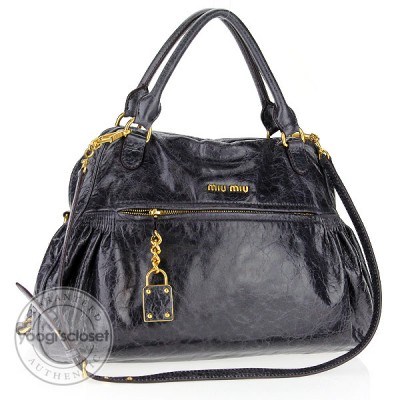 Miu Miu Mirtillo Nappa Leather Charm Satchel Bag