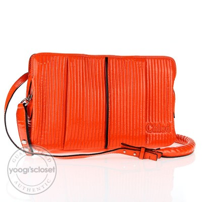 Chloe Orange Patent Lambskin Heloise Shoulder Strap Bag
