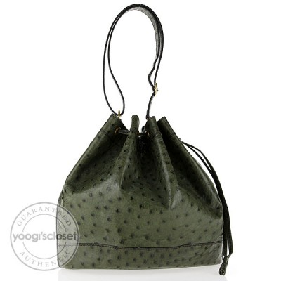 Hermes Vintage Vert Olive Ostrich Leather Market Bag