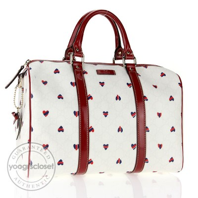Gucci White Hearts GG Coated Canvas Medium Joy Boston Bag