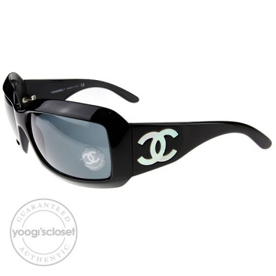 Chanel Black Frame Mother of Pearl CC Logo Sunglasses