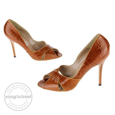 Manolo Blahnik Brown Alligator Puspa Peep-Toe Pumps Size 10.5