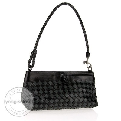 Bottega Veneta Black and Grey Intrecciato Nappa Mini Ponza Bag
