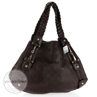 Gucci Chocolate Brown Guccissima Small Pelham Shoulder Bag