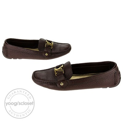 Louis Vuitton Brown Grained Leather Hockenheim Loafers Size 10.5