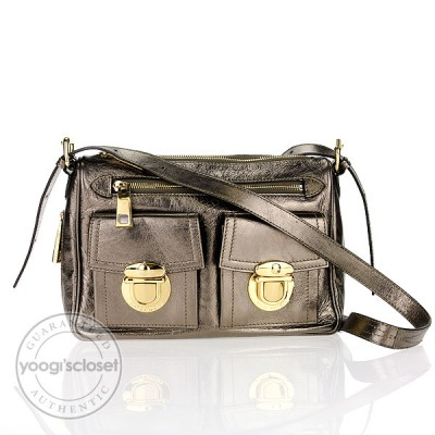 Marc Jacobs Bronze Metallic Leather Large Cammie Bag