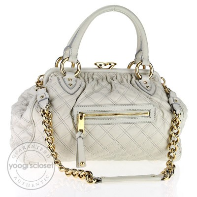 Marc Jacobs White Quilted Leather Stam Bag