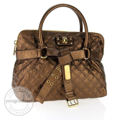 Marc Jacobs Copper Leather Quilted Bruna Belted Tote Bag
