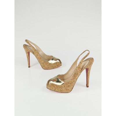 Christian Louboutin Naturale Cork and Gold Leather Peep-Toe Platform Slingback Heels Size 6