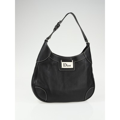 Christian Dior Black Leather Small Hobo Bag
