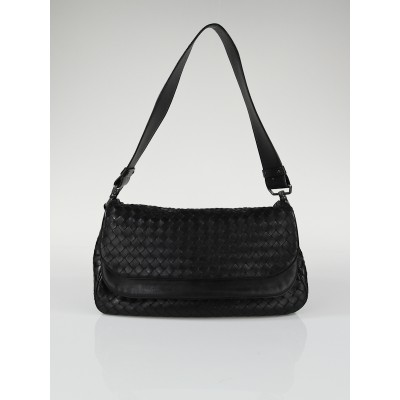 Bottega Veneta Black Woven Leather Double Flap Shoulder Bag