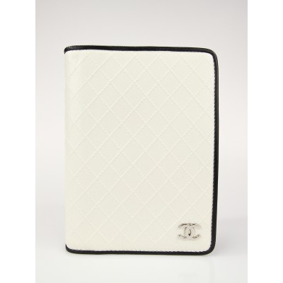 Chanel Ivory Quilted Leather Agenda/Notebook