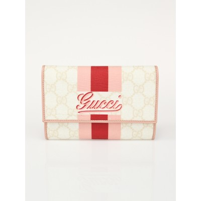 Gucci Beige/Pink GG Coated Canvas Stripe Compact Wallet