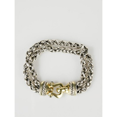 David Yurman 14k Gold and Sterling Silver Double Wheat Chain Bracelet