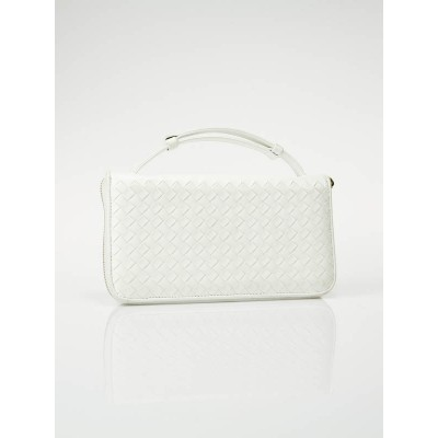 Bottega Veneta White Intrecciato Nappa Leather Wallet Clutch Bag