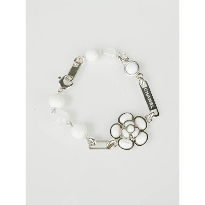 Chanel White Pearlescent Resin and Sterling Silver Camellia Flower Bracelet