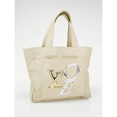Louis Vuitton Limited Edition Cream Canvas Thats Love Small Tote Bag