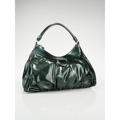 Gucci Green Patent Leather D Gold Large Hobo Bag