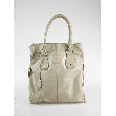 Tod's Taupe Patent Leather New Restyling D-Bag Media Tote Bag