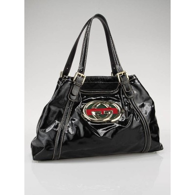 "Gucci Black Dialux ""Britt"" Medium Tote Bag"
