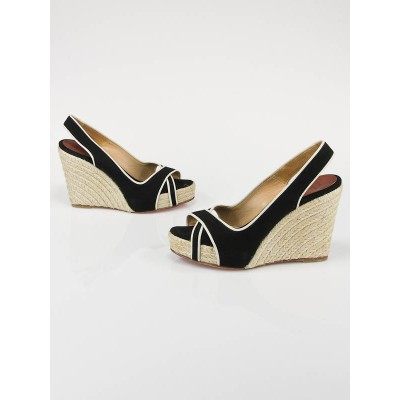 Christian Louboutin Black/Cream Canvas Piluca Espadrille Peep-Toe Wedges Size 7.5