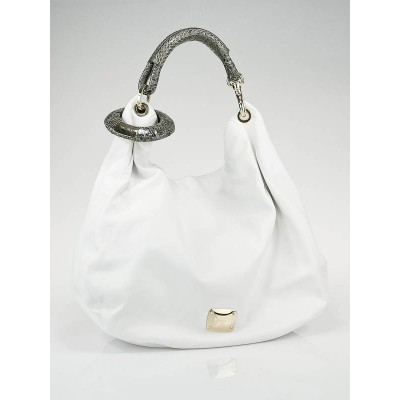 Jimmy Choo White Leather Sky Hobo Bag