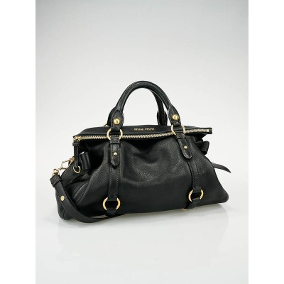 Miu Miu Black Leather Fold-Over Bow Satchel Bag