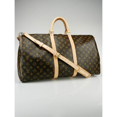 Louis Vuitton Monogram Canvas Keepall 55 w/ Shoulder Strap Bag