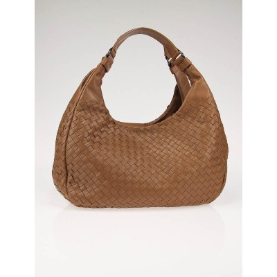 Bottega Veneta Camel Woven Leather Medium Campana Bag