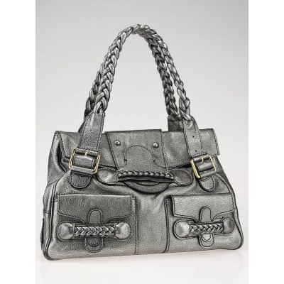 Valentino Garavani Metallic Anthracite Leather Histoire Bag