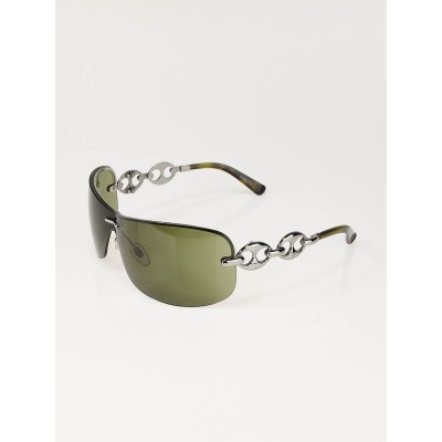 Gucci Silver Metal Link Rimless Green Gradient Lens Sunglasses