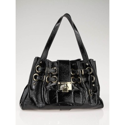 Jimmy Choo Black Crinkled Patent Leather Small Riki Tote Bag