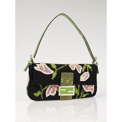 Fendi Black Embroidered Flowers and Lizard Trim Baguette Bag