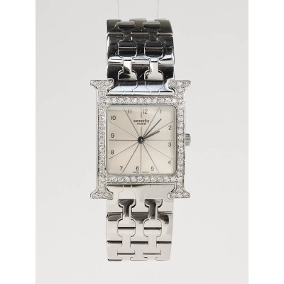 Hermes Stainless Steel and Diamond H-Our Quartz Watch