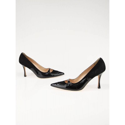 Manolo Blahnik Black Suede and Patent Leather Pumps Size 9