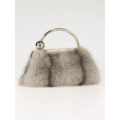 Gucci Grey Mink with Swarovski Crystals Evening Clutch Bag