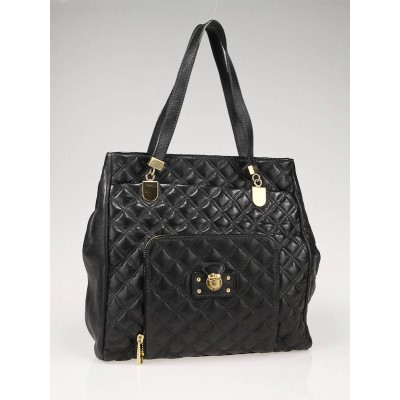Marc Jacobs Black  Leather Soft Quilting Holdall Tote Bag