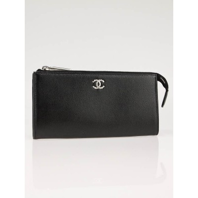 Chanel Black Caviar Leather CC Logo Zip Wallet Pouch