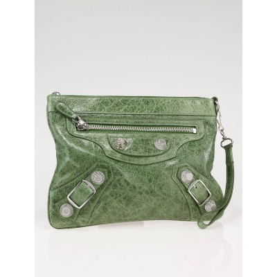 Balenciaga Sage Green Giant Flat Clutch Bag