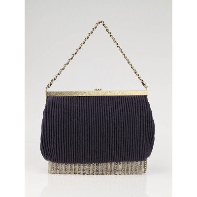 Chanel Purple Pleated Fabric Fringe Evening Bag