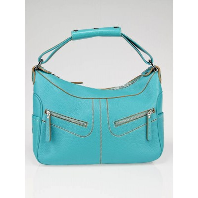 Tod's Turquoise Leather Large Milky Shoulder Bag