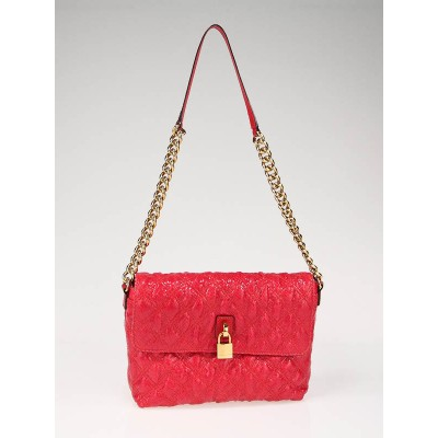 Marc Jacobs Red Snake Embossed Quilted Leather Large Single Bag