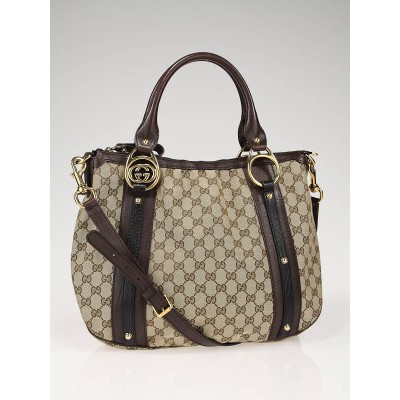 Gucci Beige/Ebony GG Fabric Interlocking Shoulder Bag