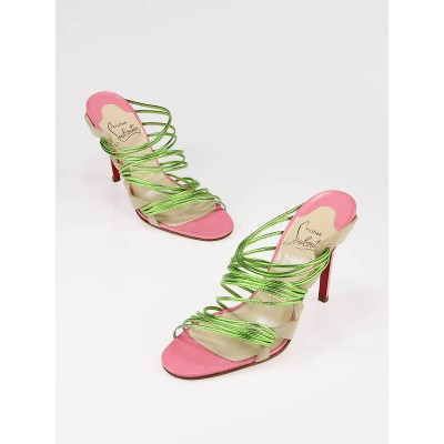 Christian Louboutin Green and Pink Leather Trescobaldi Gisa Sandal Heel Size 7