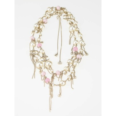 Chanel Pink/White Beaded and Pearl  Chain Fringe Necklace
