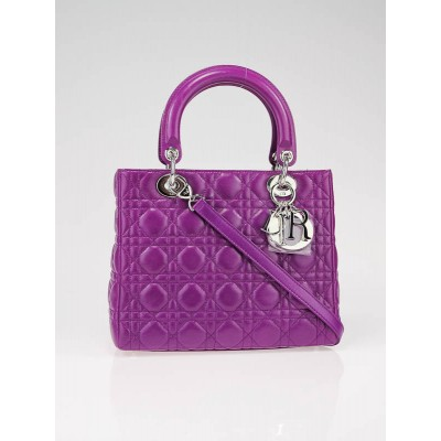 Christian Dior Purple Lady Dior Cannage Lambskin Leather Medium Bag
