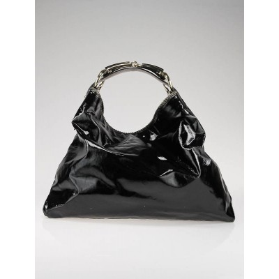 Gucci Black Dialux Large Horsebit Hobo Bag