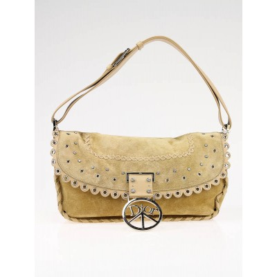 Christian Dior Tan Suede Crystal Peace Shoulder Bag